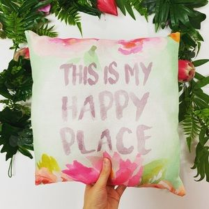 "Cheerful ""this is my happy place"" throw pillow ✨"